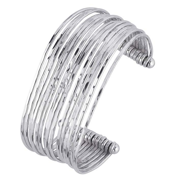 Sterling Silver 15-Wire Hammered Cuff Bracelet