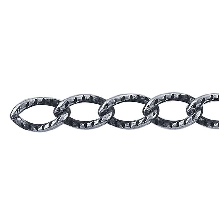 Oval Twisted Chain Sterling Silver Oxidized Finish  By Foot