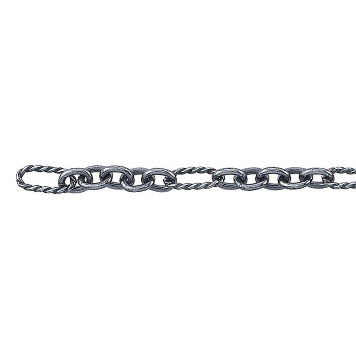 Sterling Silver Oxidized 3mm Twist Patterned Long & Short Chain, By the Foot