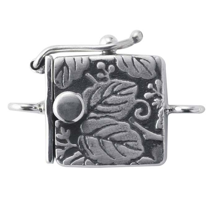 Sterling Silver Leaf Pattern Box Clasp with Safety Catch