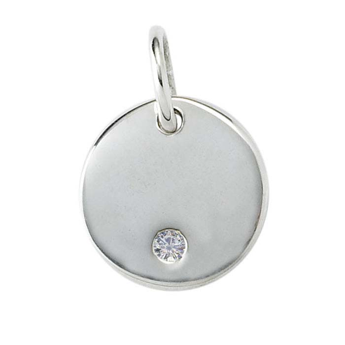 Sterling Silver Diamond-Set Round Charm