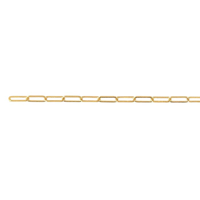 14K Yellow Gold 2mm Flat Drawn Oval Cable Chain, By the Inch