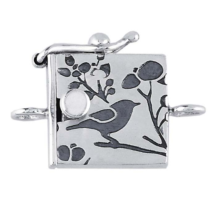 Sterling Silver Bird Pattern Box Clasp with Safety Catch