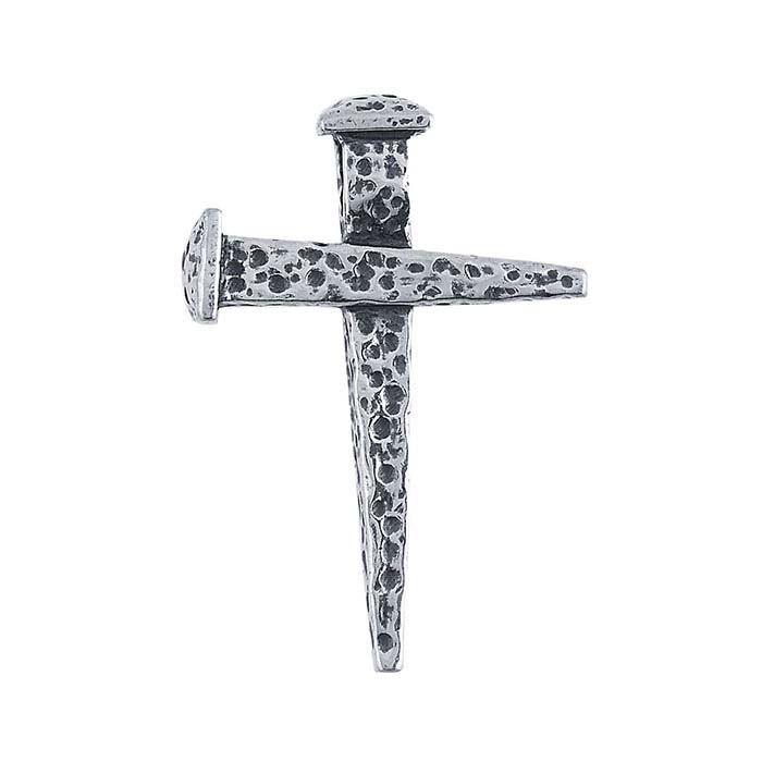 Sterling Silver Hammered Nail Cross Pendant