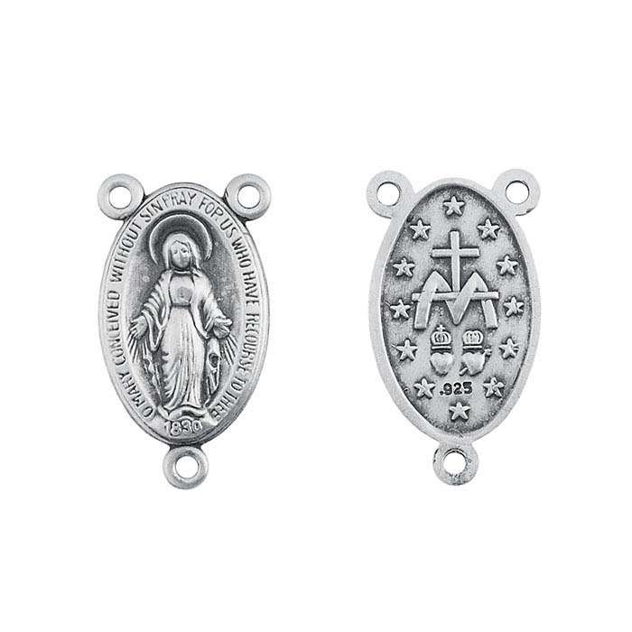 Sterling Silver Miraculous Medal Rosary Center Pendant