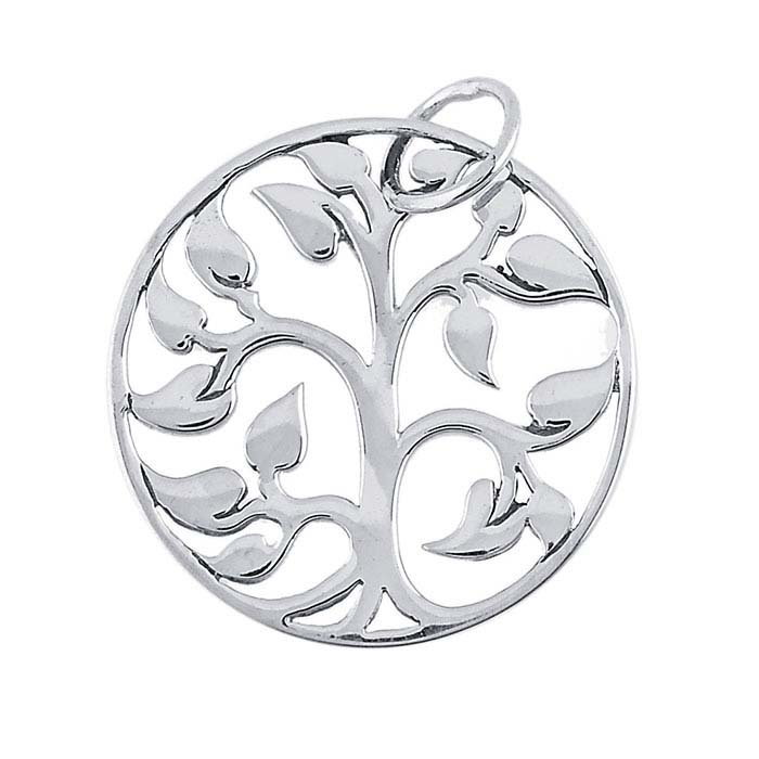 "Sterling Silver ""Tree of Life"" Open Round Pendant"