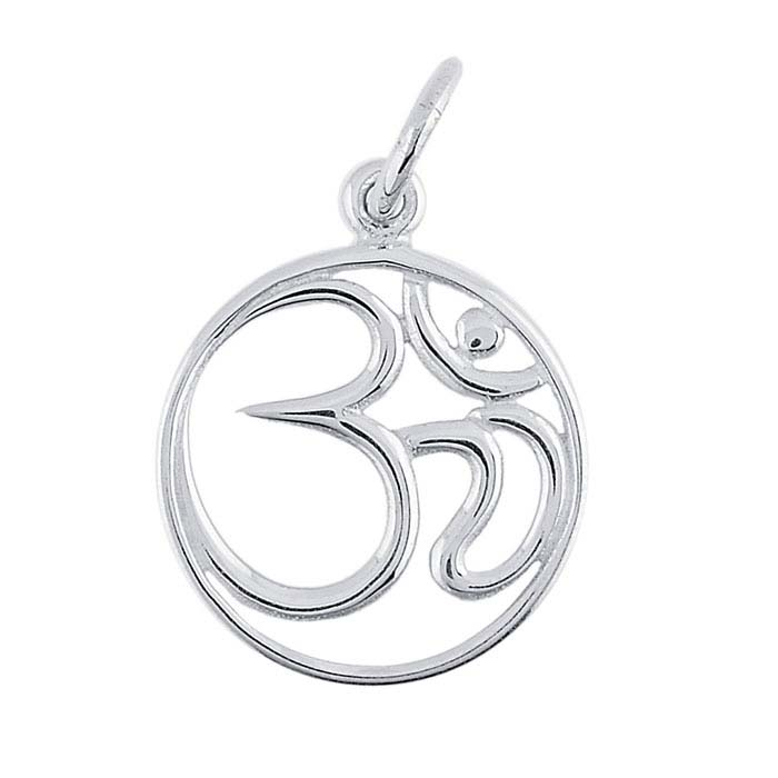 "Sterling Silver ""Om"" Symbol Circle Charm"