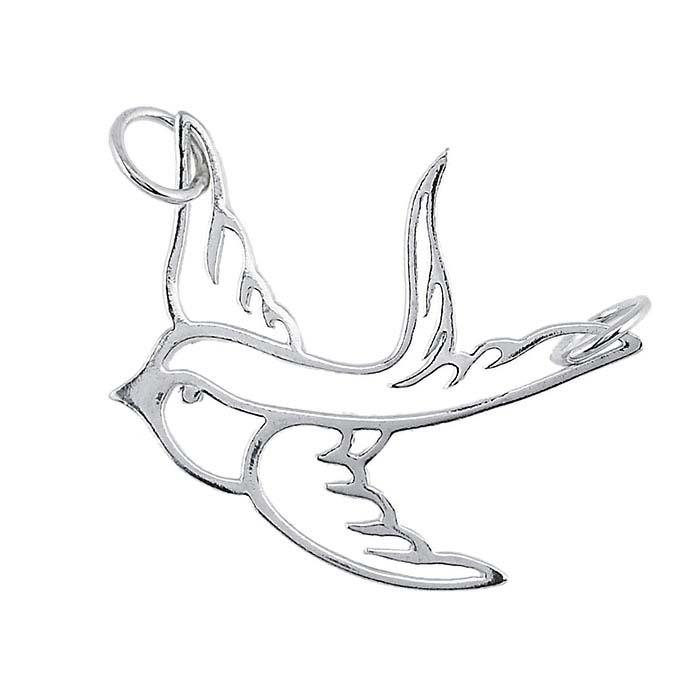 Sterling Silver Swallow Festoon Pendant