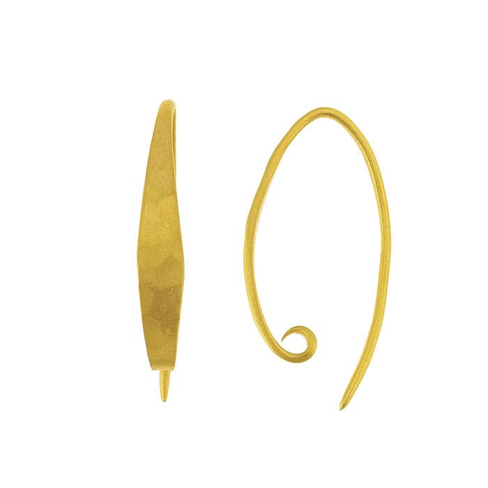 24K Heavy Yellow Gold-Plated Sterling Silver Hammered Ear Wire with Loop