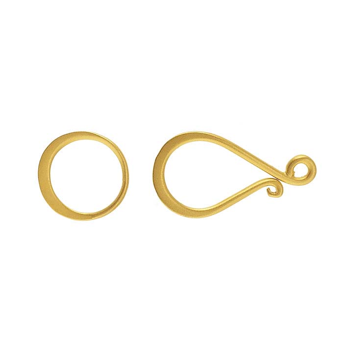 24K Heavy Yellow Gold-Plated Sterling Silver Hook & Eye Clasp