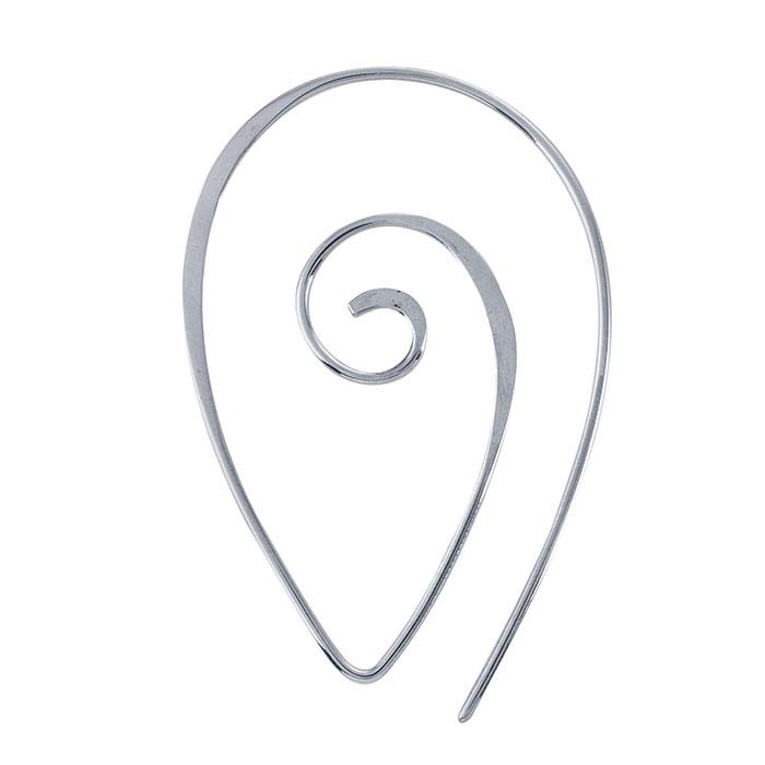 Sterling Silver Teardrop Spiral Ear Wire