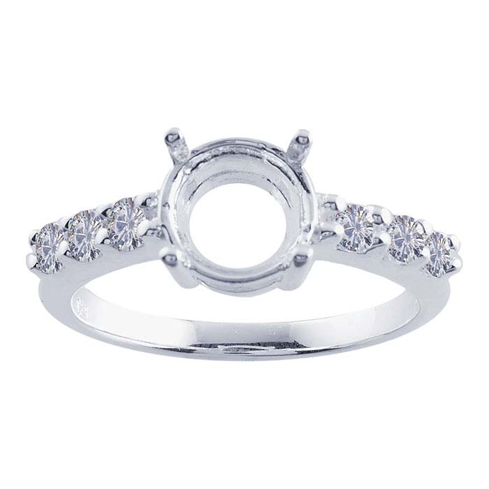 Sterling Silver Semi-Mount Engagement Ring