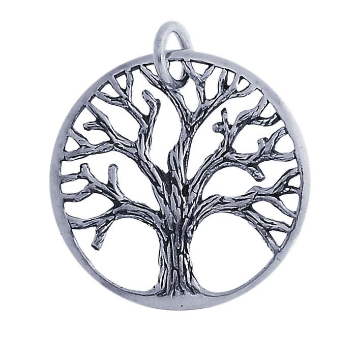 Sterling Silver Textured Tree Pendant
