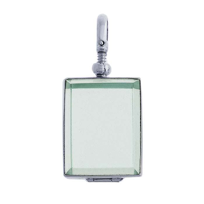 Sterling Silver Rectangle Glass Locket Pendant