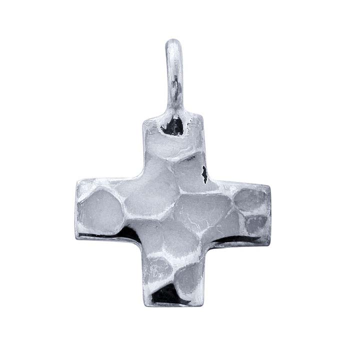 Sterling Silver Hammered Cross Charm