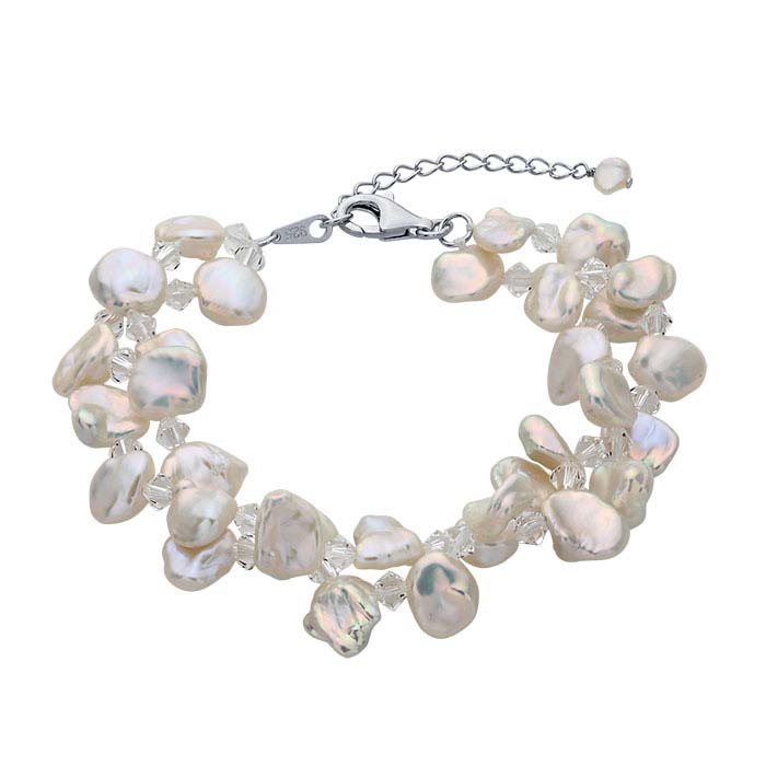 Pacific Sterling Silver Cable Bracelet with Double-Row Freshwater Cultured Keshi Pearls and Swarovski® Crystals Beads