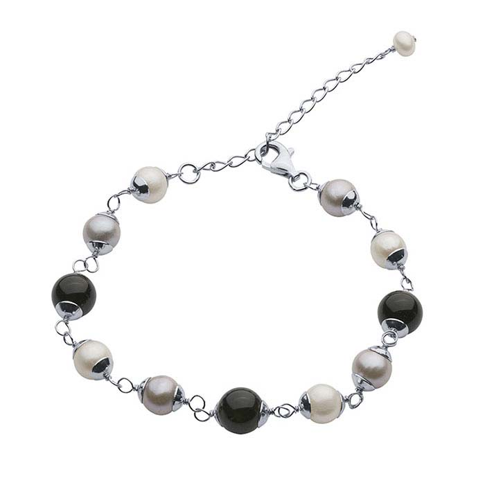 Strand Sterling Silver Bracelet with Onyx and Freshwater Cultured Pearls