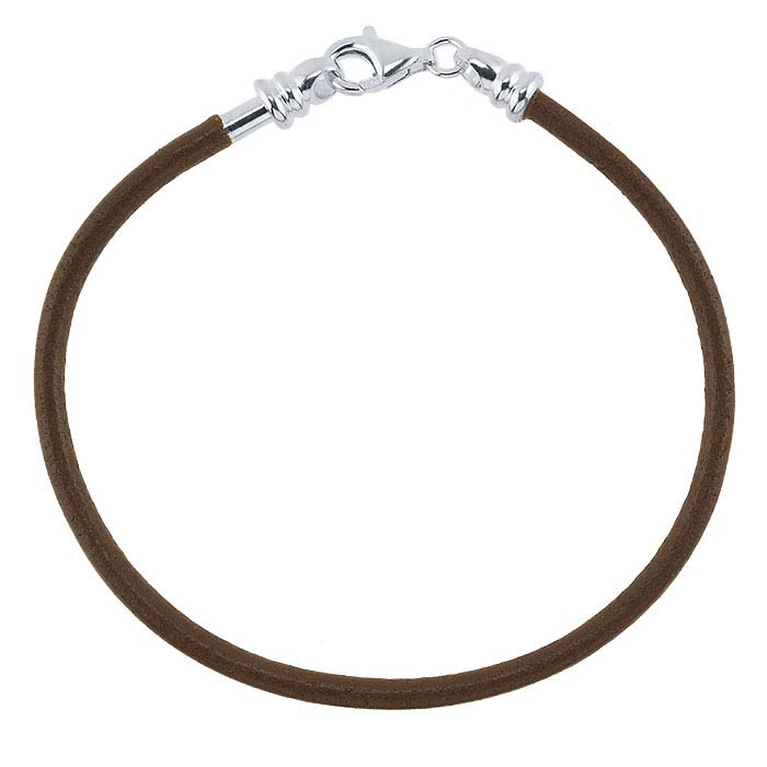 Brown Leather Cord Bracelet with Sterling Silver Threaded End Cap
