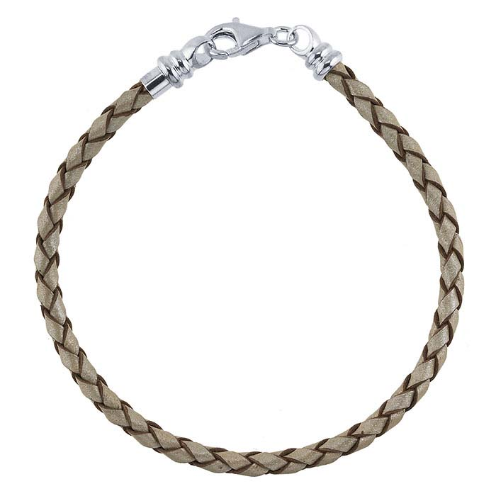 Pearl-Color Leather Braided Cord Bracelet with Sterling Silver Threaded End Cap
