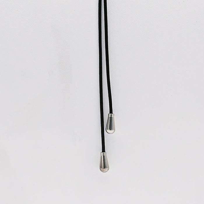 Black Leather Y-Style Cord Necklace with Sterling Silver End Caps