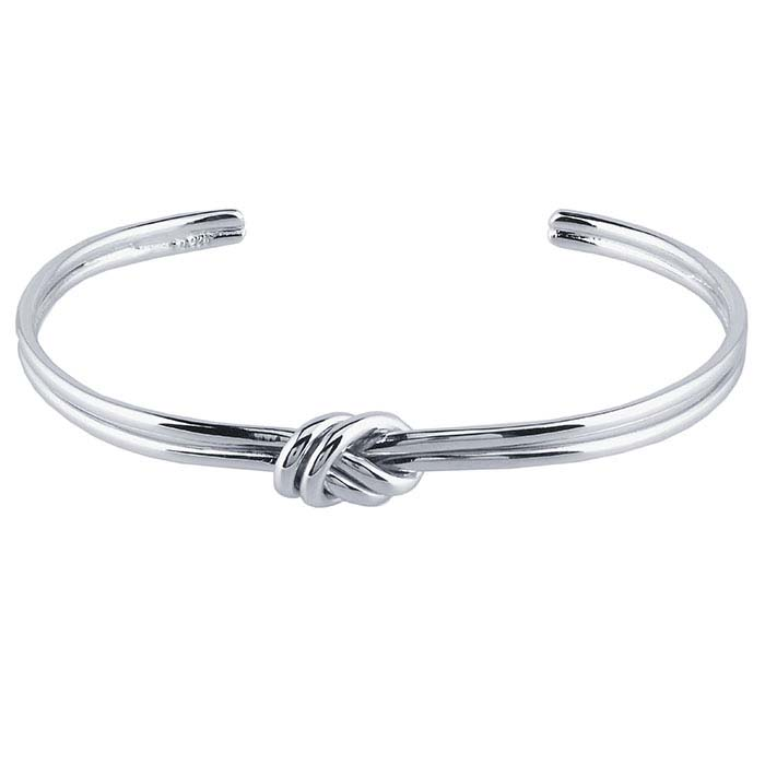 Sterling Silver Rhodium-Plated Cuff Bracelet with Knot