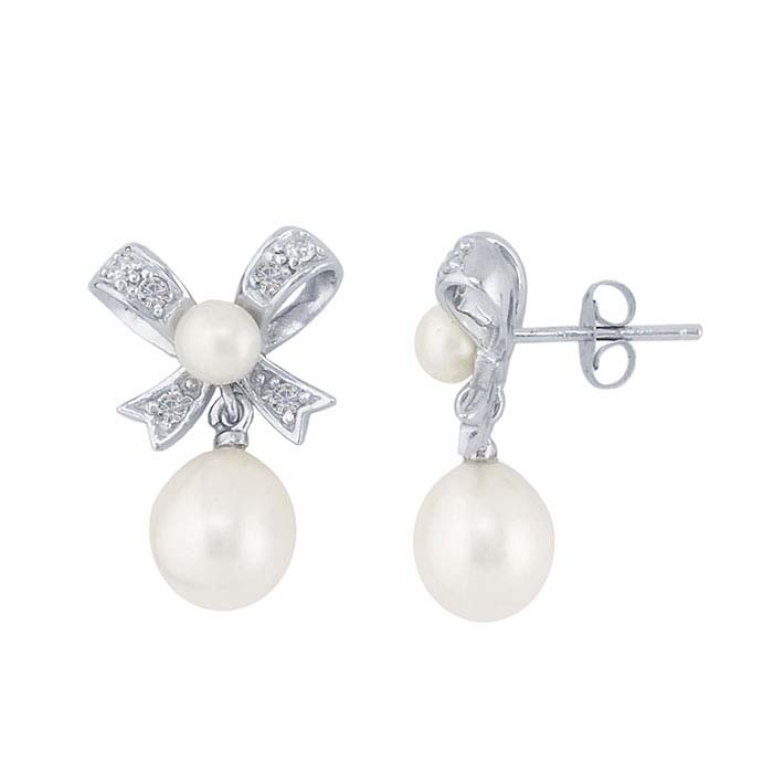 Sterling Silver CZ-Set Bow Post Earrings with Freshwater Pearls