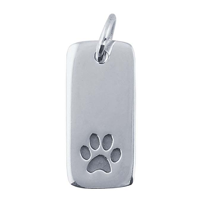 Sterling Silver Rectangle Paw-Print Charm