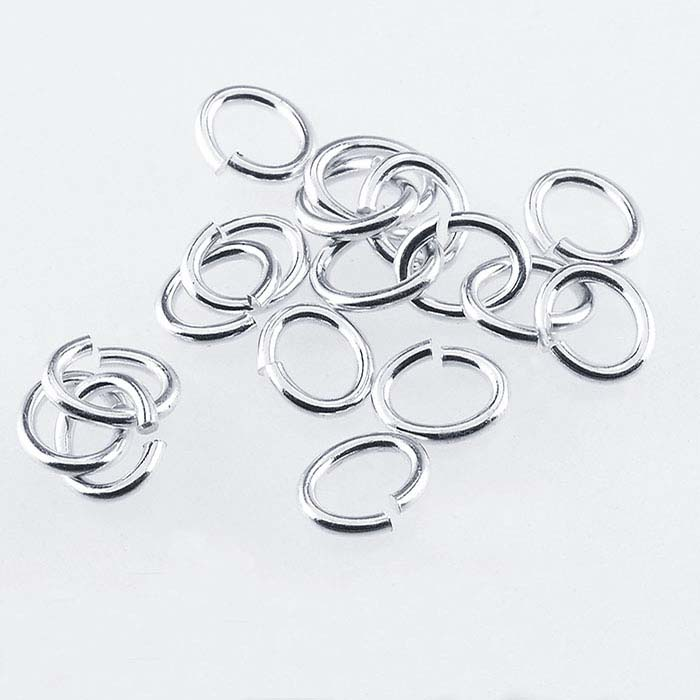 Brass Silver-Plated 4 x 3mm Oval Jump Ring