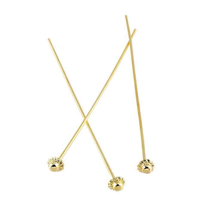 "Base Metal Yellow Gold-Plated 2"" 4mm Ball Head Pin, 1/2-Hard"