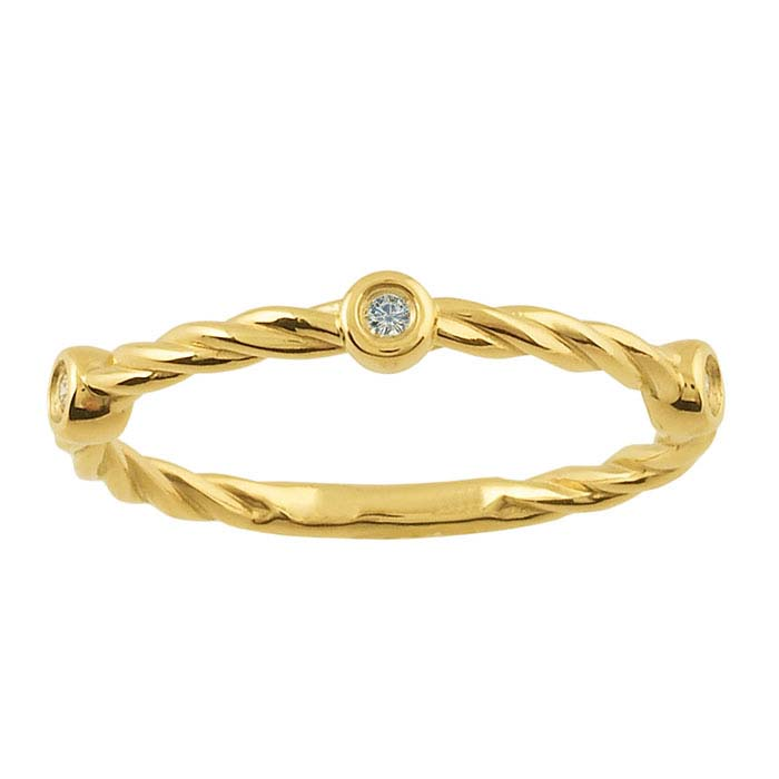 14K Yellow Gold Diamond-Set Twist Band