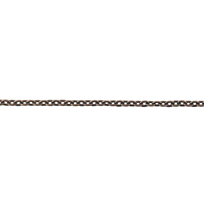 Steel Antique Copper-Finish 3.4mm Patterned Flat Oval Cable Chain, 20-ft. Spool