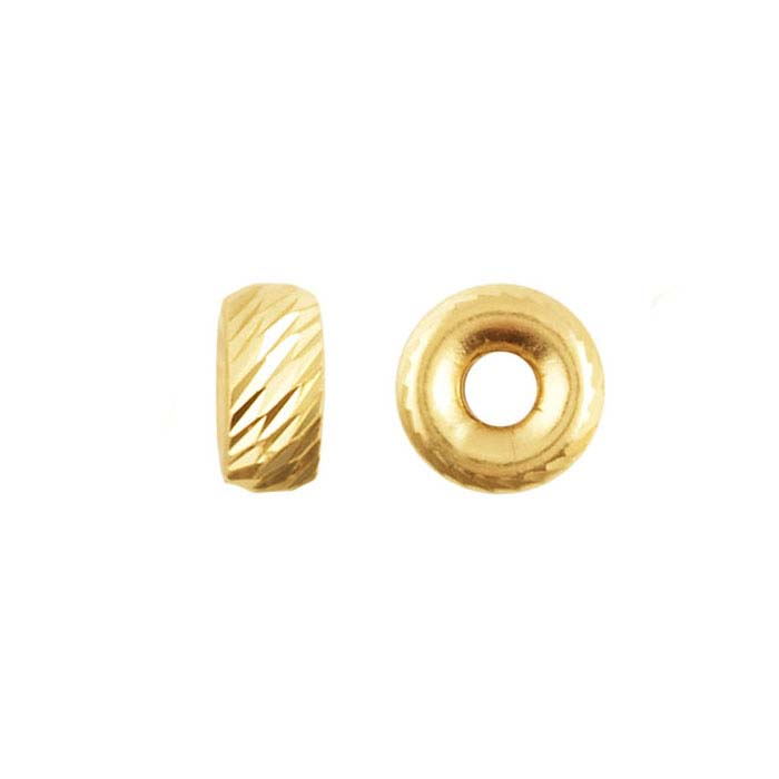 14K Yellow Gold Roundel Diagonal-Cut Bead