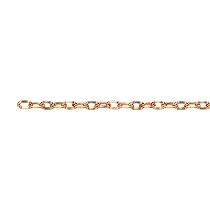 Copper Flash-Plated 1.4mm Drawn Cable Chain, 20-ft. Spool