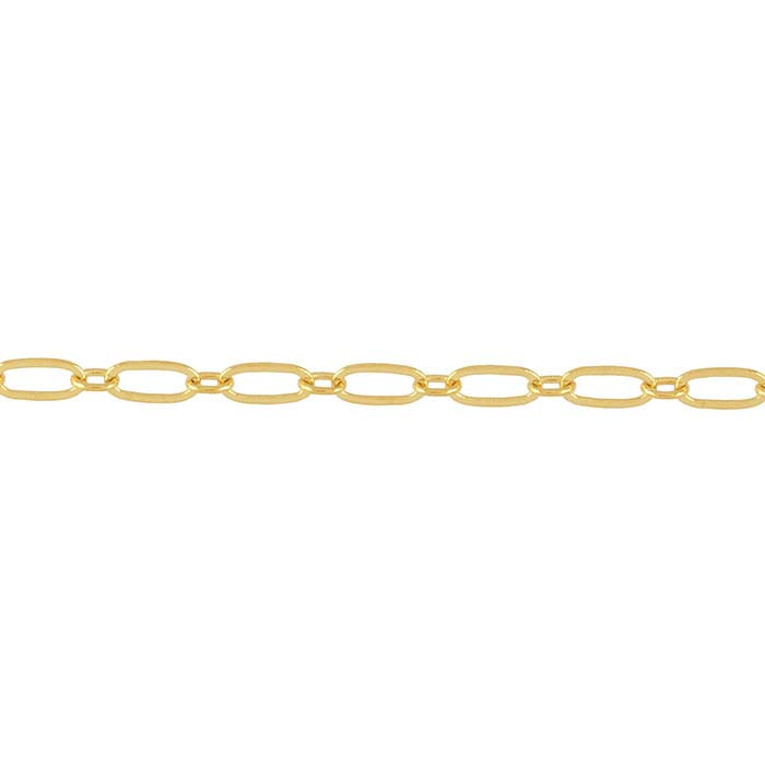 Brass Yellow Gold-Plated 2.8mm Flat Long & Short Chain, 20-ft. Spool