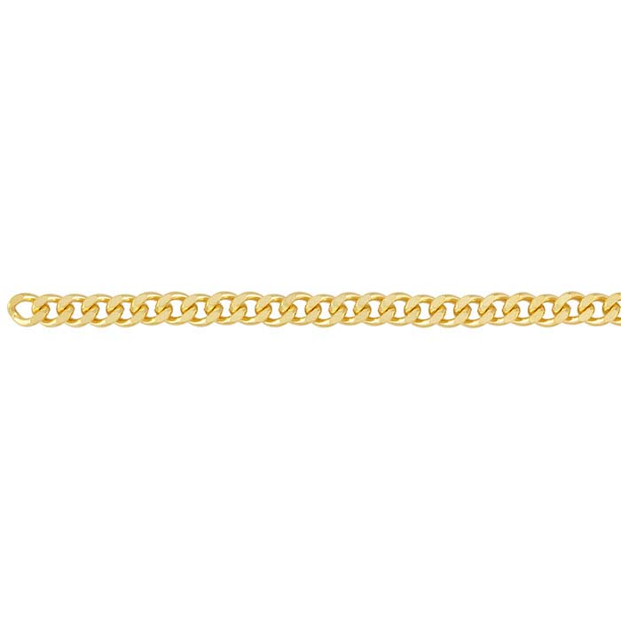 Brass Yellow Gold-Plated 6.8mm Diamond-Cut Curb Chain, 20-ft. Spool
