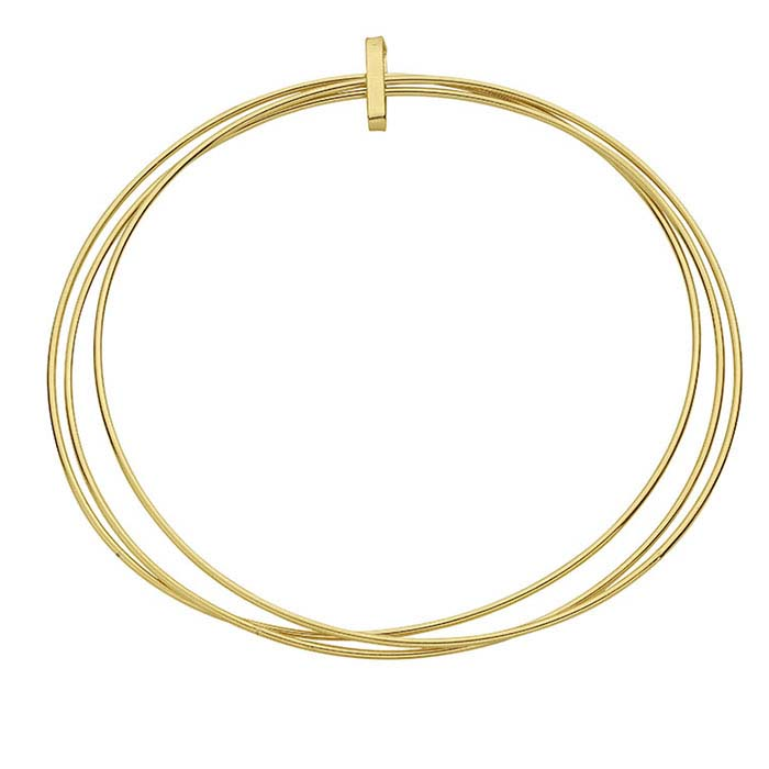 14/20 Yellow Gold-Filled Three-Ring Bangle Bracelet