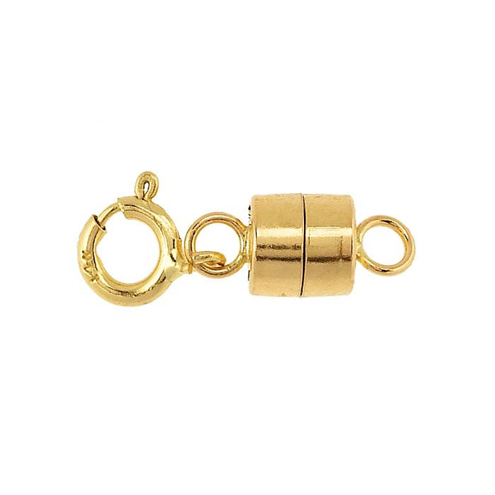 Yellow Gold Barrel Magnetic Clasp with Spring Ring