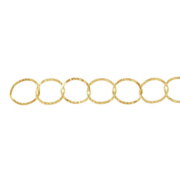 14/20 Yellow Gold-Filled Patterned Flat Oval Cable Chains