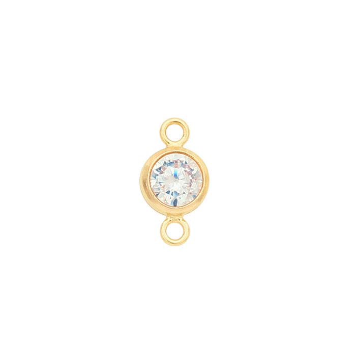 14/20 Yellow Gold-Filled Round White CZ-Set Link Component