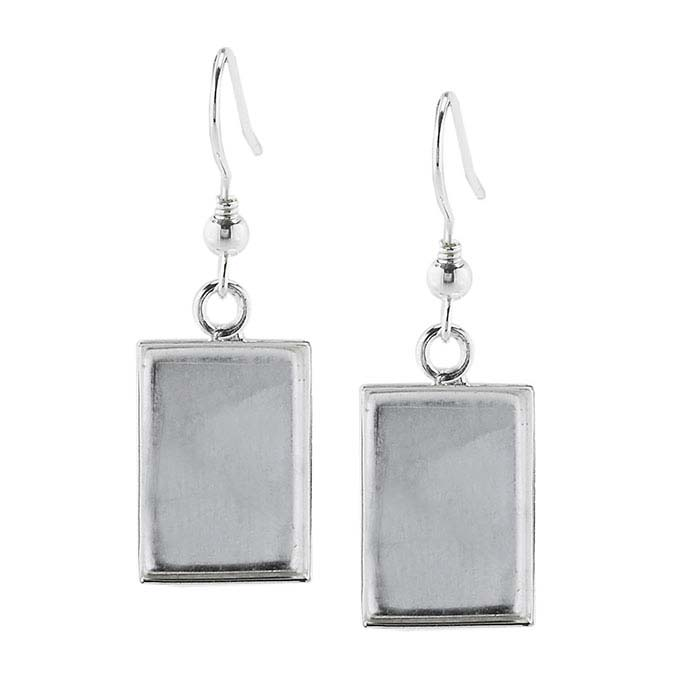 Brass Silver-Plated 17 x 11mm Rectangle Resin Ear Wire Mounting