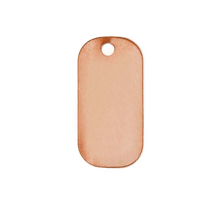 Copper 25 x 13mm Rectangle Tag, 24-Ga.