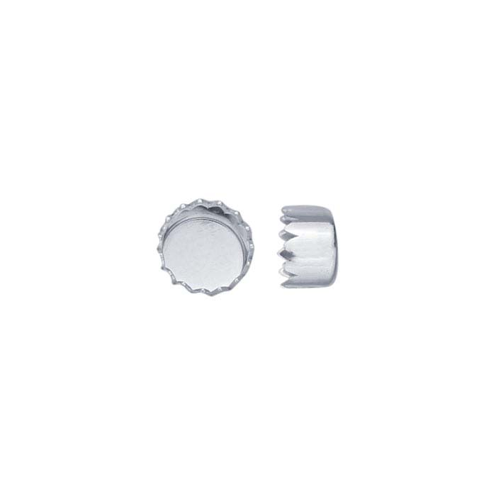 Sterling Silver Round Serrated-Edge Bezel Cup Settings