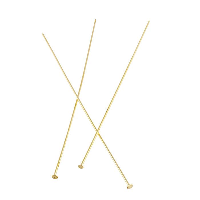 "Brass Yellow-Finish 3"" Flat Head Pin, Soft"