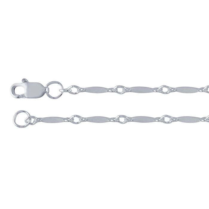 Sterling Silver 1.7mm Dapped Bar and Link Chain