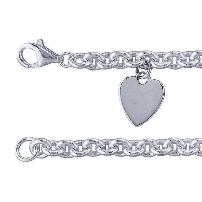 Sterling Silver 5.2mm Cable Chain Bracelet with Heart Plaque