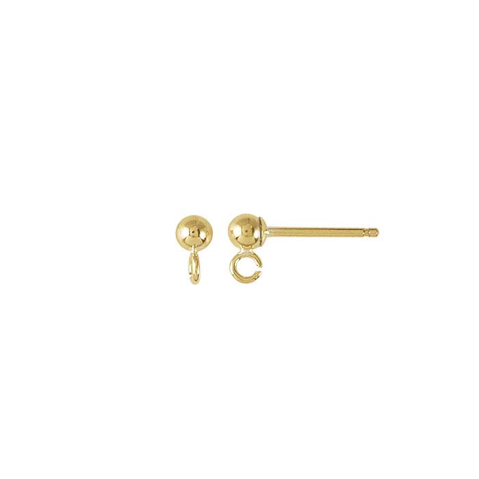 14/20 Yellow Gold-Filled Ball Post Earring with Open Ring