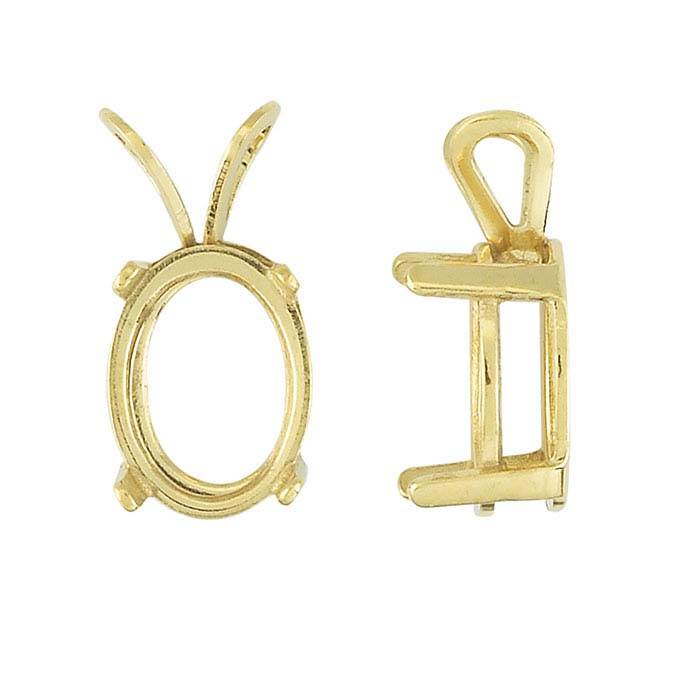 14/20 Yellow Gold-Filled Oval Basket Pendant Mountings