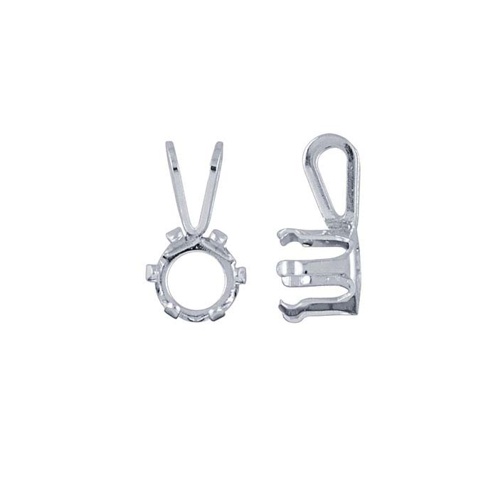 Sterling Silver 6mm Round Snap-Set™ Pendant Mounting, 6-Prong