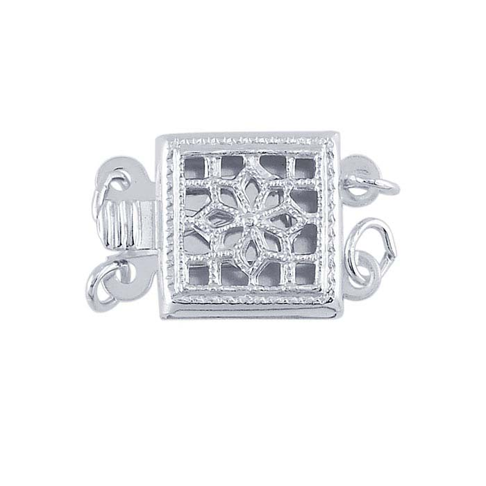 Sterling Silver Filigree Box Safety Clasp, 2-Strand