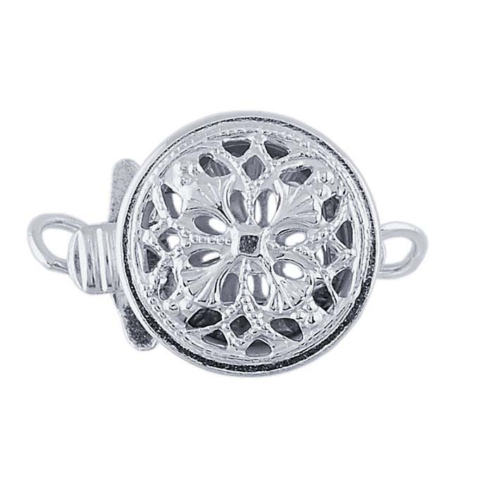 Sterling Silver Round Filigree Safety Clasp